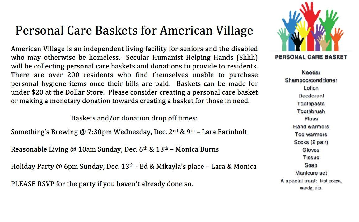 Personal Care Baskets for American Village